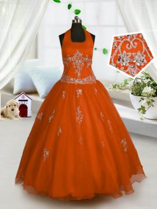 Popular Red A-line Halter Top Sleeveless Tulle Floor Length Lace Up Appliques Little Girls Pageant Dress Wholesale