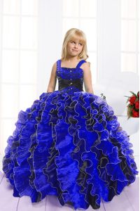 Dazzling Floor Length Lace Up Kids Pageant Dress Blue And Black for Party and Wedding Party with Beading and Ruffles