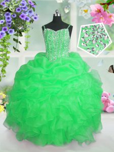 Pick Ups Ball Gowns Little Girls Pageant Dress Wholesale Spaghetti Straps Organza Sleeveless Floor Length Lace Up