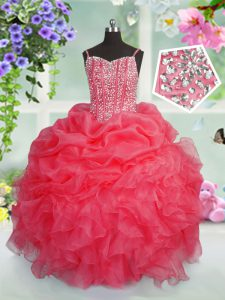 Sleeveless Floor Length Beading and Ruffles and Pick Ups Lace Up Little Girl Pageant Gowns with Rose Pink