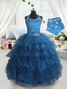 Teal Spaghetti Straps Lace Up Beading and Ruffled Layers Little Girl Pageant Dress Sleeveless