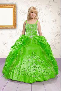 Latest Spaghetti Straps Sleeveless Satin Pageant Gowns For Girls Beading and Appliques and Pick Ups Lace Up