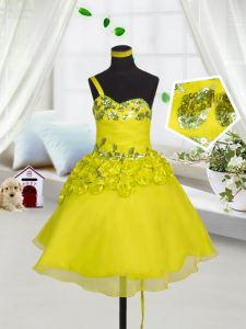 Yellow Sweetheart Neckline Beading and Appliques and Hand Made Flower Little Girl Pageant Dress Sleeveless Lace Up