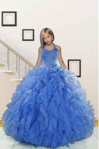 Nice Ball Gowns Girls Pageant Dresses Blue Halter Top Organza Sleeveless Floor Length Lace Up