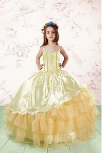 Orange Sleeveless Embroidery and Ruffled Layers Floor Length Little Girls Pageant Gowns