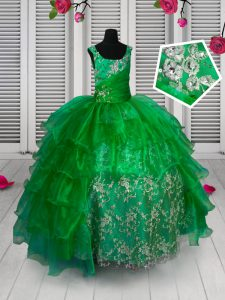 Straps Sleeveless Little Girls Pageant Dress Floor Length Appliques and Ruffled Layers Green Organza