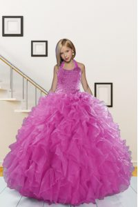 Halter Top Pink Ball Gowns Beading and Ruffles Kids Pageant Dress Lace Up Organza Sleeveless Floor Length