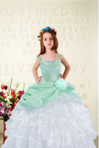 White Sleeveless Organza Lace Up Little Girls Pageant Dress Wholesale for Party and Wedding Party