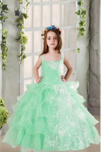 Inexpensive Organza Square Sleeveless Lace Up Lace and Ruffled Layers Little Girl Pageant Gowns in Turquoise