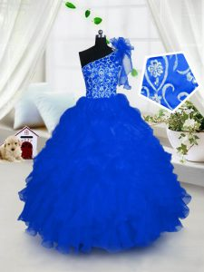 Fancy One Shoulder Sleeveless Lace Up Floor Length Embroidery and Ruffles Little Girl Pageant Gowns