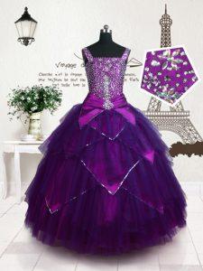 Straps Sleeveless Girls Pageant Dresses Floor Length Belt Purple Tulle