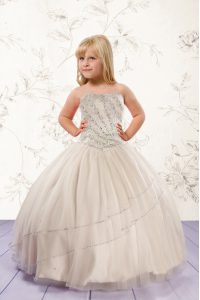Top Selling Sleeveless Floor Length Beading Lace Up Pageant Gowns For Girls with Champagne