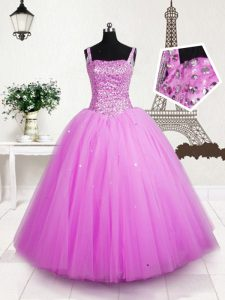 Luxurious Rose Pink Tulle Lace Up Little Girl Pageant Gowns Sleeveless Floor Length Beading and Sequins