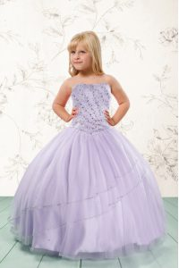 Lavender Ball Gowns Strapless Sleeveless Tulle Floor Length Lace Up Beading Little Girls Pageant Gowns