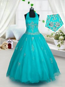Glorious Halter Top Floor Length A-line Sleeveless Aqua Blue Little Girls Pageant Gowns Lace Up