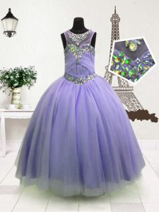 High-neck Sleeveless Organza Little Girl Pageant Gowns Beading Zipper