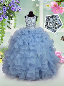Custom Fit Sequins Ball Gowns Pageant Gowns For Girls Light Blue Scoop Organza Sleeveless Floor Length Zipper