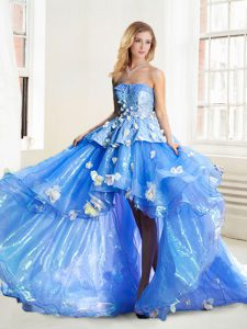 High Low Lace Up Ball Gown Prom Dress Blue for Prom with Appliques