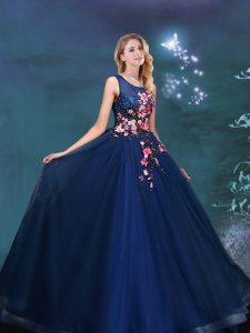 Fantastic Navy Blue 15 Quinceanera Dress Prom with Appliques Scoop Sleeveless Lace Up