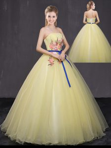 Yellow Tulle Lace Up Strapless Sleeveless Floor Length Quince Ball Gowns Appliques