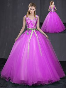 V-neck Sleeveless Lace Up 15th Birthday Dress Fuchsia Tulle