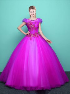 Glamorous Scoop Fuchsia Short Sleeves Tulle Lace Up Sweet 16 Dresses for Military Ball and Sweet 16 and Quinceanera