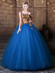 Tulle One Shoulder Sleeveless Lace Up Pattern Vestidos de Quinceanera in Blue