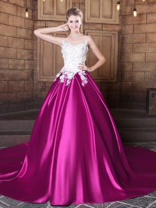 Chic Scoop Fuchsia Sleeveless With Train Appliques Lace Up Quinceanera Gown