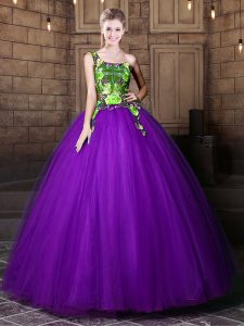 One Shoulder Eggplant Purple Lace Up Quince Ball Gowns Pattern Sleeveless Floor Length