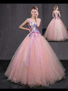 Floor Length Ball Gowns Sleeveless Baby Pink Sweet 16 Dress Lace Up