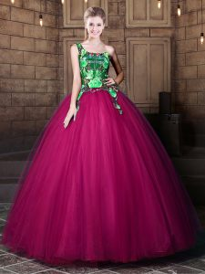 One Shoulder Sleeveless Sweet 16 Dress Floor Length Pattern Fuchsia Tulle