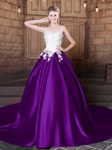 Customized Purple Lace Up Scoop Lace and Appliques Sweet 16 Quinceanera Dress Elastic Woven Satin Sleeveless Court Train