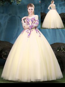 Dazzling Ball Gowns Quince Ball Gowns Light Yellow Scoop Tulle Long Sleeves Floor Length Lace Up