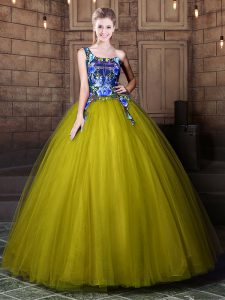Spectacular One Shoulder Olive Green Sleeveless Tulle Lace Up Sweet 16 Dresses for Military Ball and Sweet 16 and Quinceanera