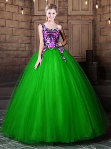 One Shoulder Sleeveless Tulle Sweet 16 Quinceanera Dress Pattern Lace Up