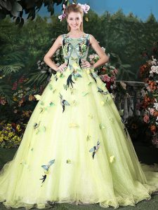 Dazzling Light Yellow Ball Gowns Organza Scoop Sleeveless Appliques Zipper Quinceanera Gowns Brush Train