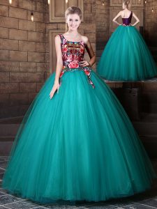 Admirable One Shoulder Teal Lace Up 15th Birthday Dress Pattern Sleeveless Floor Length