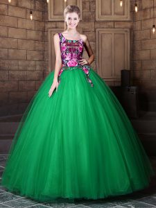 One Shoulder Green Sleeveless Pattern Floor Length Sweet 16 Quinceanera Dress