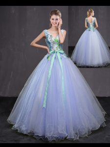 Affordable Lavender Quinceanera Gowns Military Ball and Sweet 16 and Quinceanera with Appliques and Belt Sleeveless Lace Up