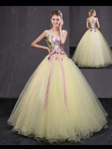 Shining Light Yellow Ball Gowns Tulle V-neck Sleeveless Appliques and Belt Floor Length Lace Up 15th Birthday Dress