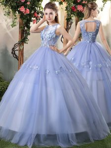 Modern Bateau Sleeveless Quinceanera Gowns Floor Length Appliques Lavender Tulle