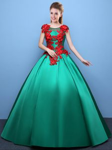 Fantastic Scoop Cap Sleeves Quinceanera Dresses Floor Length Appliques Green Satin