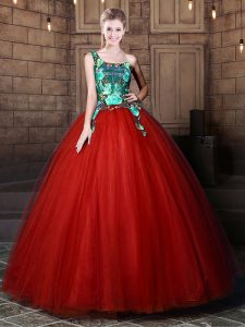 One Shoulder Tulle Sleeveless Floor Length Sweet 16 Quinceanera Dress and Pattern