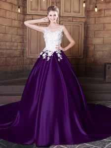 Scoop Sleeveless Elastic Woven Satin 15 Quinceanera Dress Lace and Appliques Court Train Lace Up