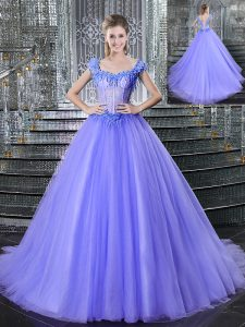 Colorful Straps Sleeveless Brush Train Lace Up 15th Birthday Dress Lavender Tulle