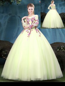 Discount Scoop Yellow Green Long Sleeves Tulle Lace Up Quinceanera Gowns for Military Ball and Sweet 16 and Quinceanera