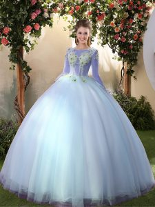 Gorgeous Big Puffy Floor Length Light Blue Quince Ball Gowns Tulle Long Sleeves Appliques