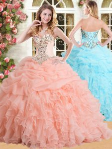 Deluxe Pick Ups Floor Length Ball Gowns Sleeveless Peach Sweet 16 Quinceanera Dress Lace Up