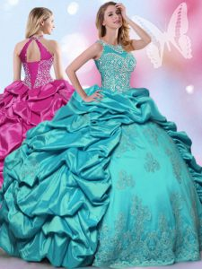 Top Selling Teal Taffeta Lace Up Halter Top Sleeveless Floor Length Quince Ball Gowns Beading and Lace and Appliques and Pick Ups