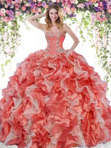 Luxury White And Red Lace Up Sweetheart Beading and Ruffles Ball Gown Prom Dress Organza Sleeveless